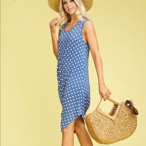 Dresses & Skirts - Blue Polka Dot Sleeveless Side Draped Dress